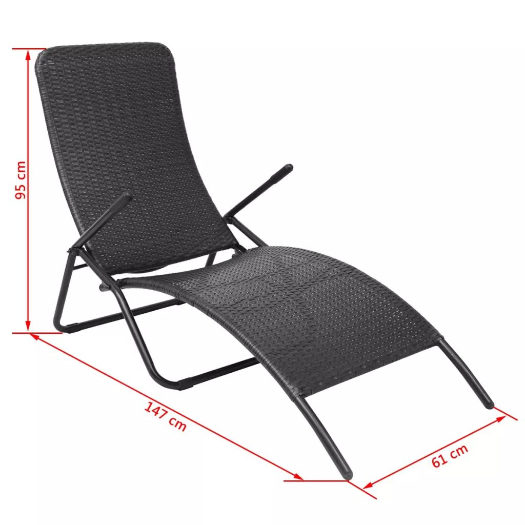 Folding Sun Lounger Poly Rattan Black 6