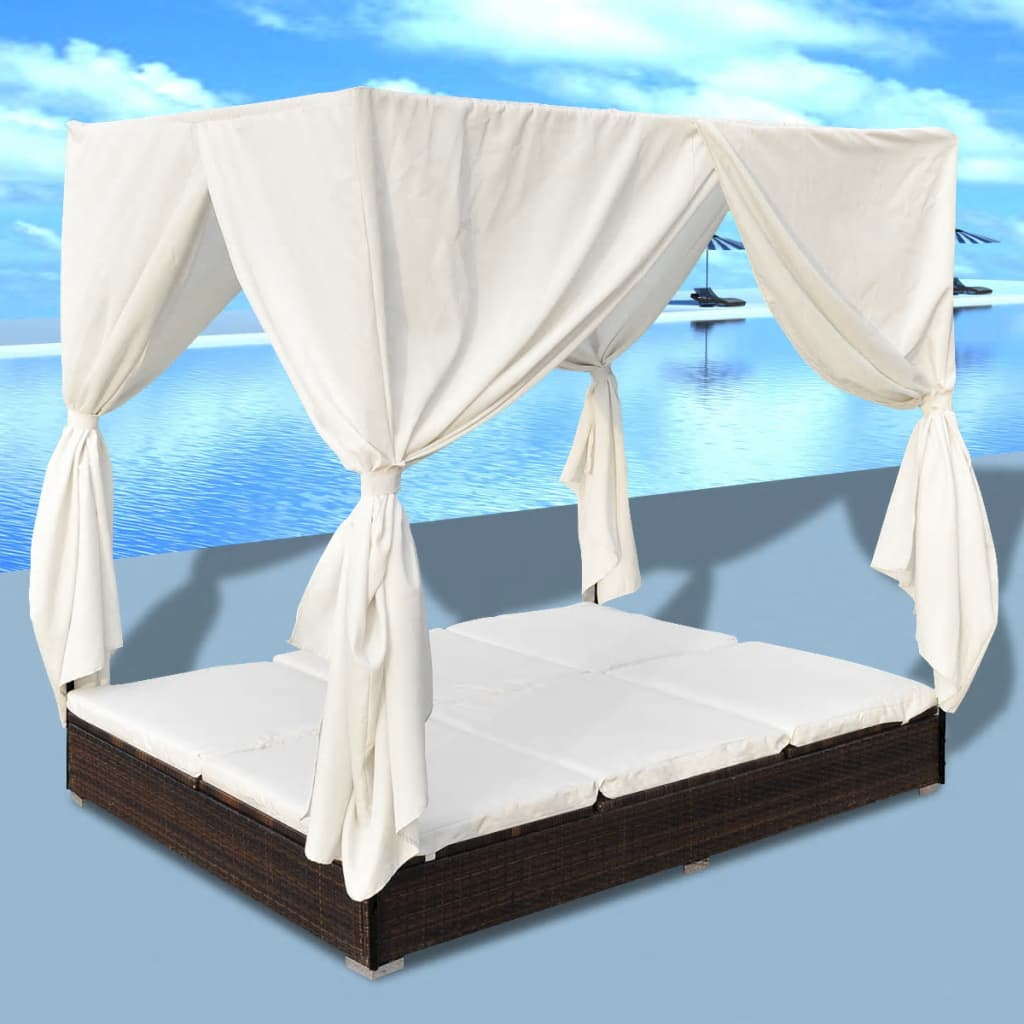 Outdoor Lounge Bed with Curtains Poly Rattan Brown 1