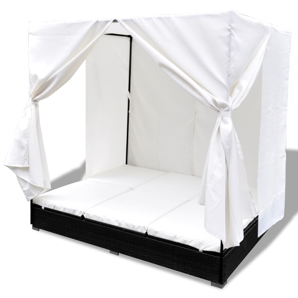 Outdoor Lounge Bed with Curtains Poly Rattan Black 5