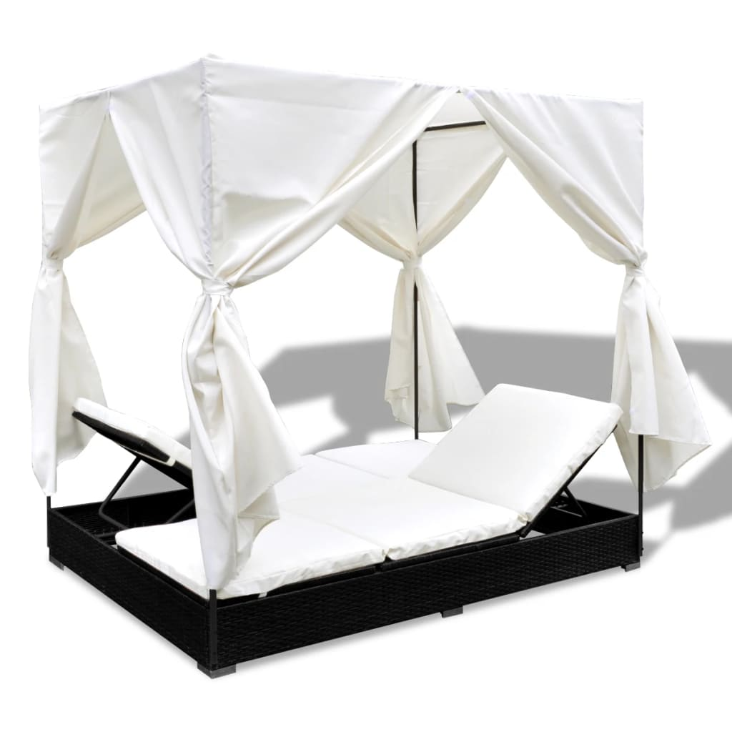 Outdoor Lounge Bed with Curtains Poly Rattan Black 7