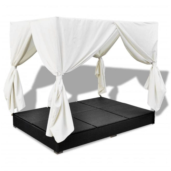Outdoor Lounge Bed with Curtains Poly Rattan Black 8