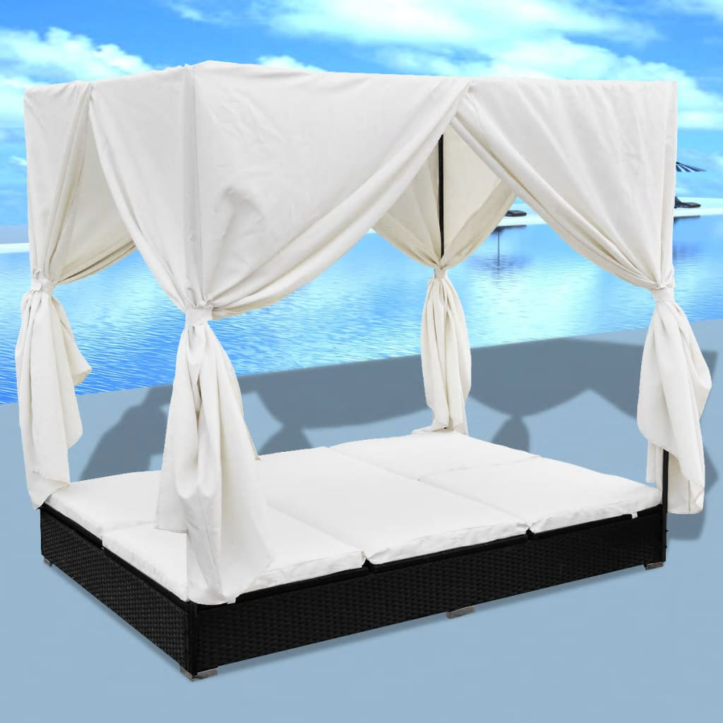 Outdoor Lounge Bed with Curtains Poly Rattan Black 1