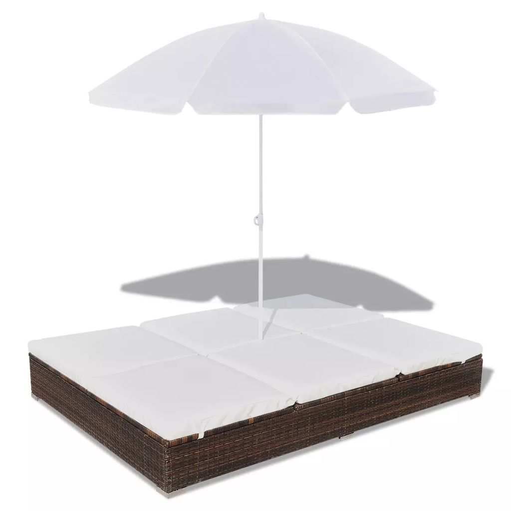 Outdoor Lounge Bed with Umbrella Poly Rattan Brown 2