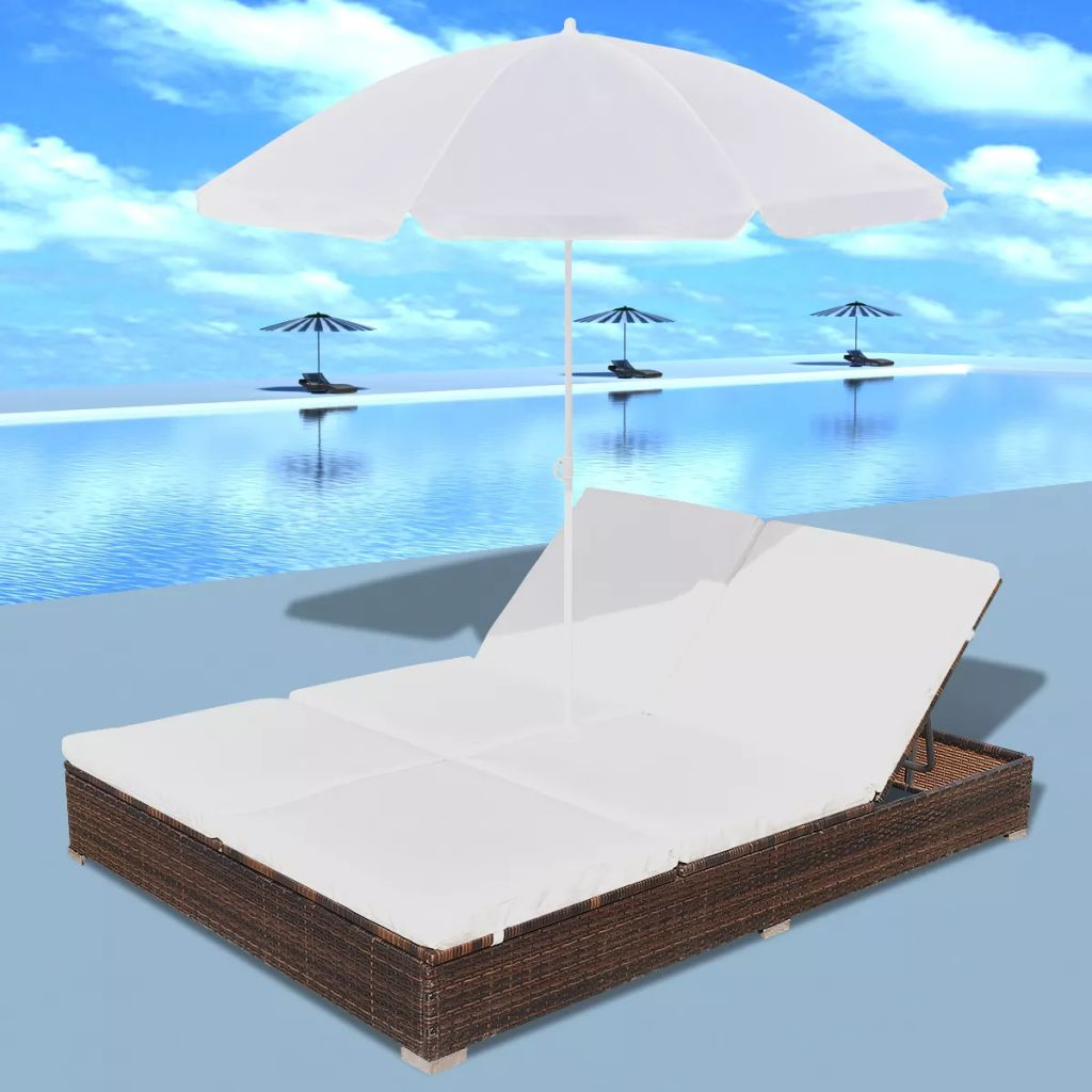 Outdoor Lounge Bed with Umbrella Poly Rattan Brown 3