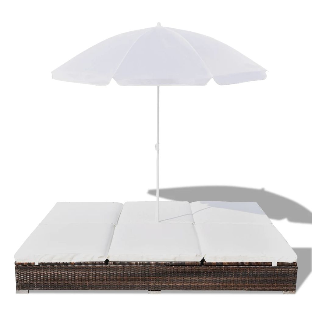 Outdoor Lounge Bed with Umbrella Poly Rattan Brown 4