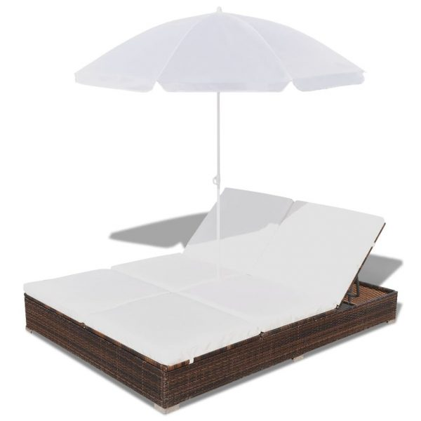 Outdoor Lounge Bed with Umbrella Poly Rattan Brown 5