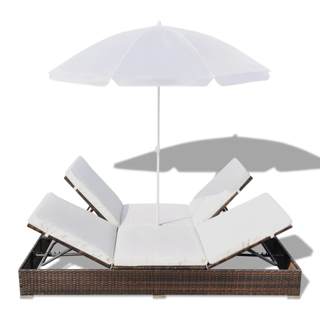 Outdoor Lounge Bed with Umbrella Poly Rattan Brown 6