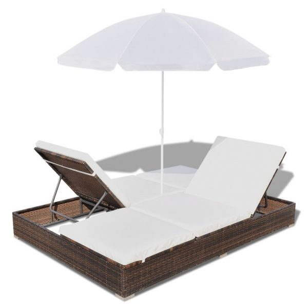 Outdoor Lounge Bed with Umbrella Poly Rattan Brown 7
