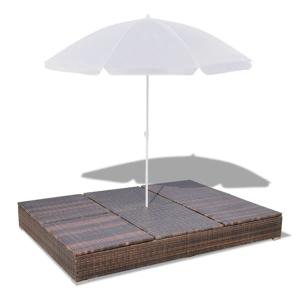 Outdoor Lounge Bed with Umbrella Poly Rattan Brown 8