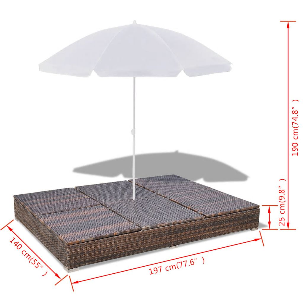 Outdoor Lounge Bed with Umbrella Poly Rattan Brown 10