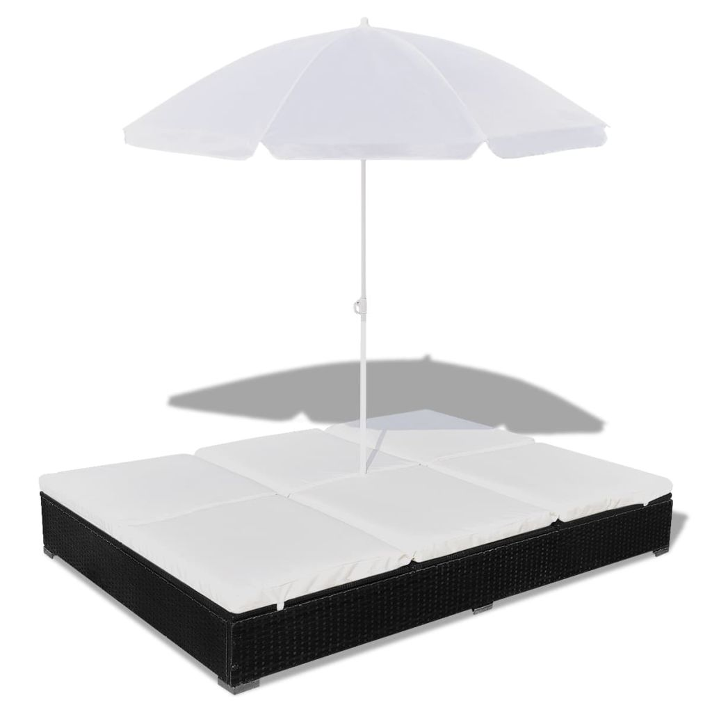 Outdoor Lounge Bed with Umbrella Poly Rattan Black 2
