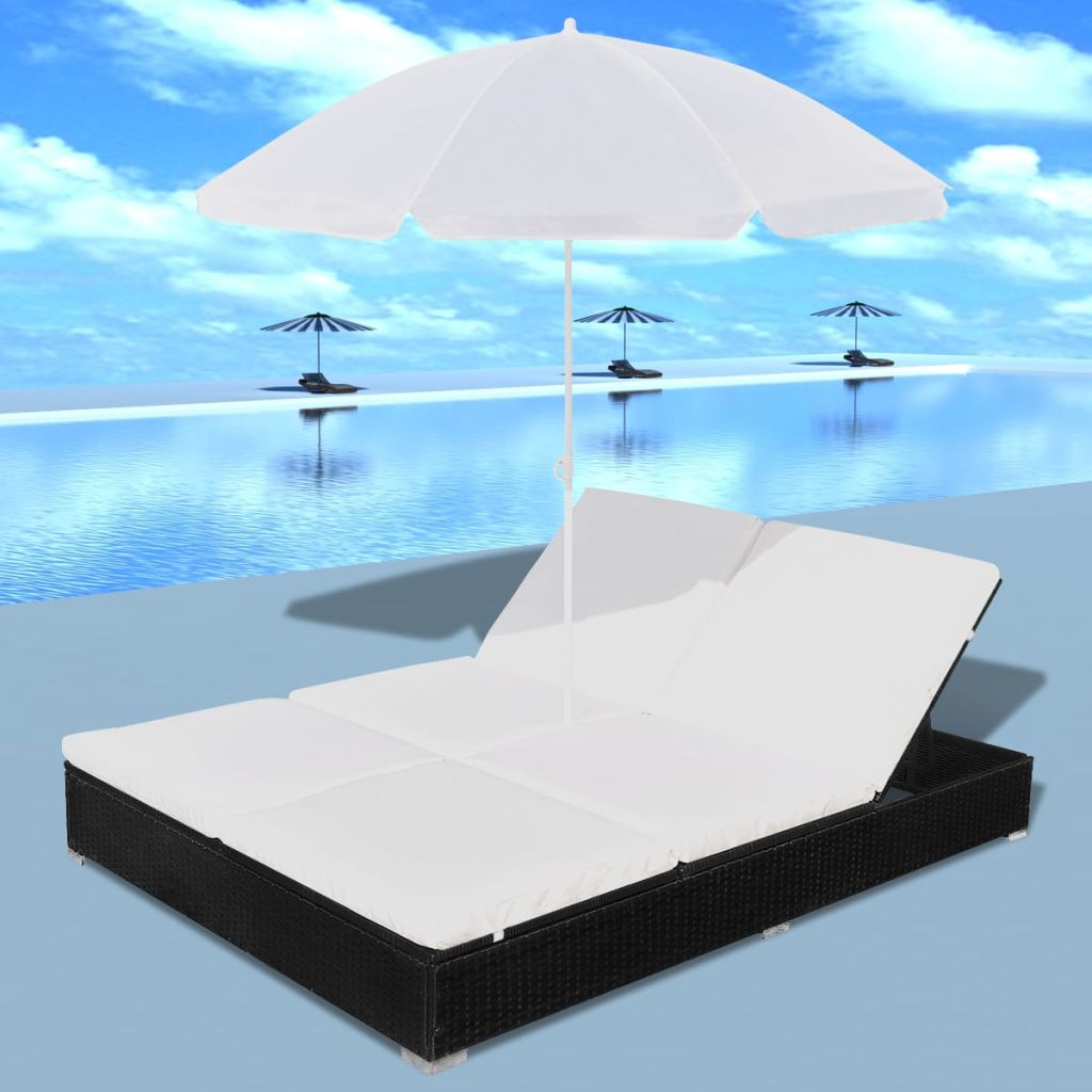Outdoor Lounge Bed with Umbrella Poly Rattan Black 3