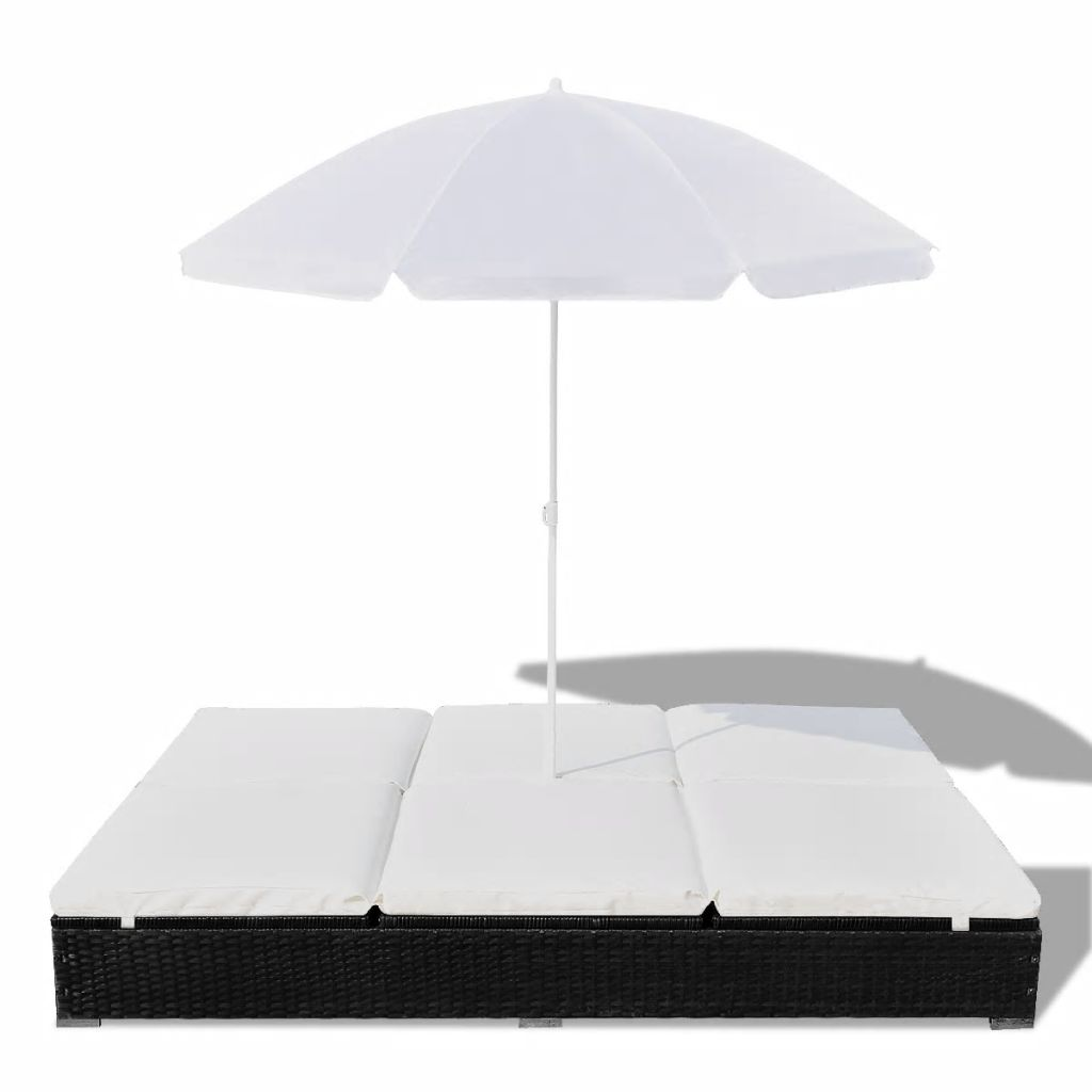 Outdoor Lounge Bed with Umbrella Poly Rattan Black 4