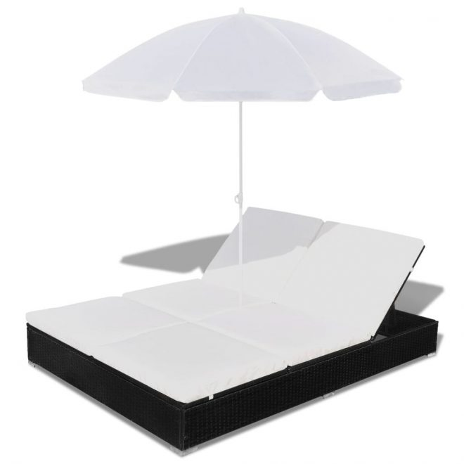 Outdoor Lounge Bed with Umbrella Poly Rattan Black 5
