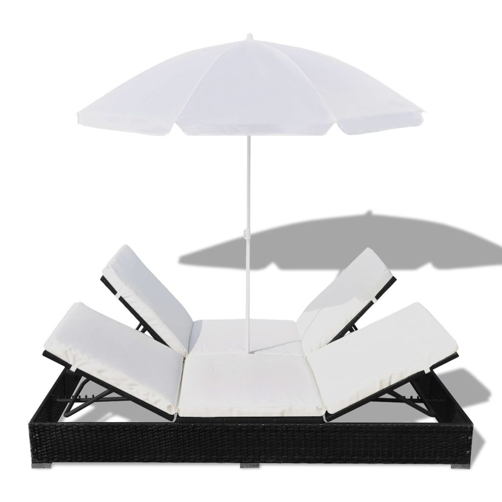 Outdoor Lounge Bed with Umbrella Poly Rattan Black 6