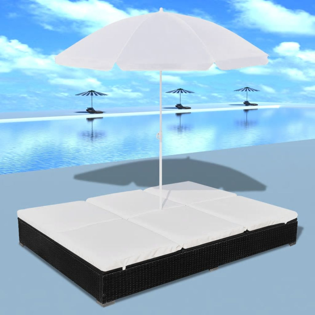 Outdoor Lounge Bed with Umbrella Poly Rattan Black 1