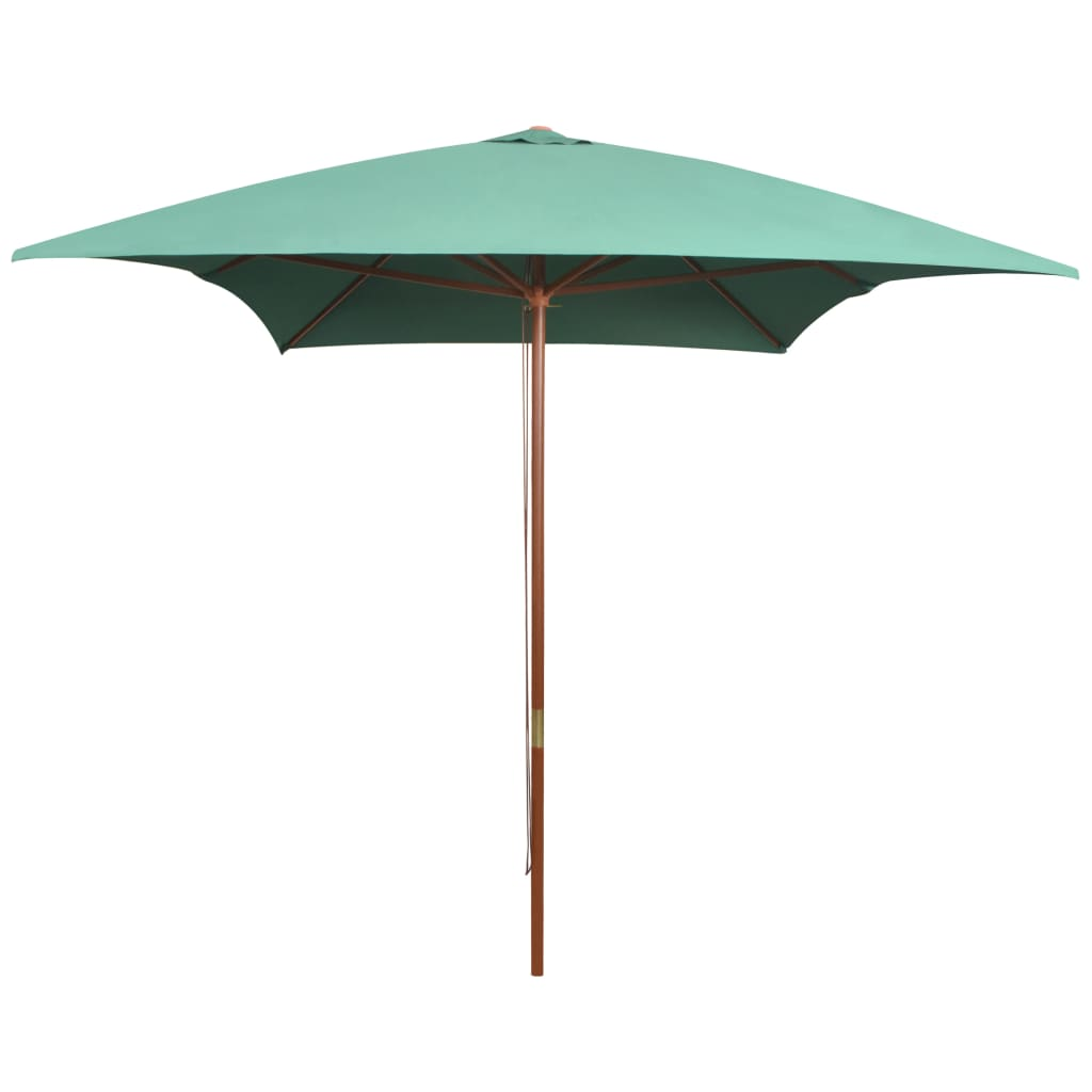 Parasol 200x300 cm Wooden Pole Green