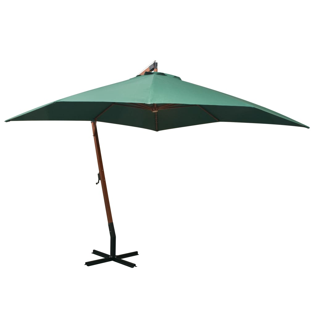 Hanging Parasol 300x300 cm Wooden Pole Green