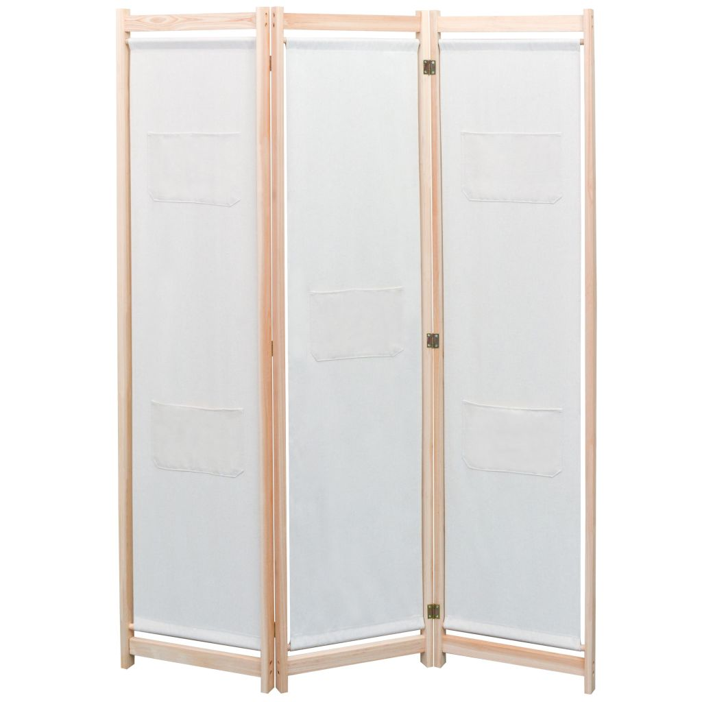 3-Panel Room Divider Cream 120x170x4 cm Fabric