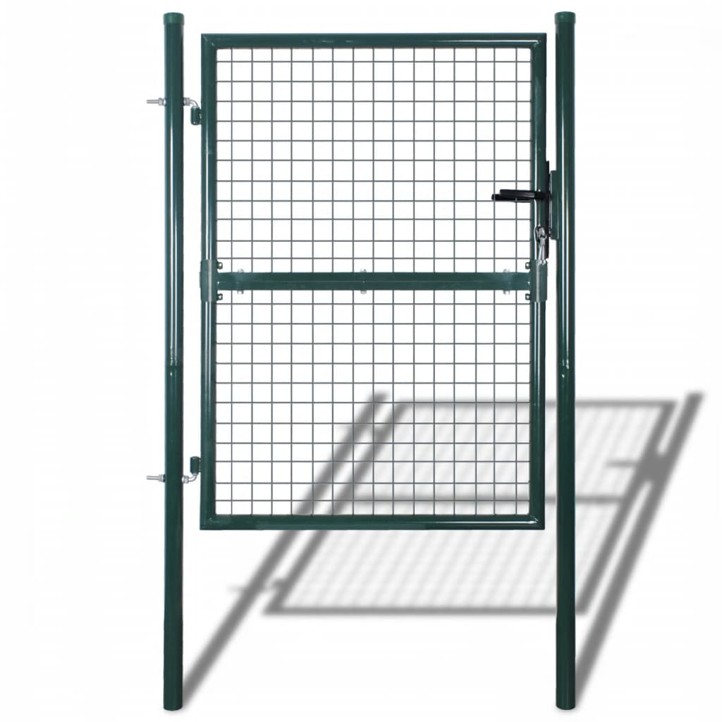 Fence Gate Steel 100x250 cm Green