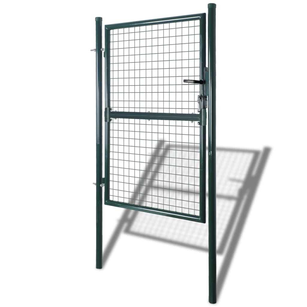 Fence Gate Steel 100×250 cm Green 2