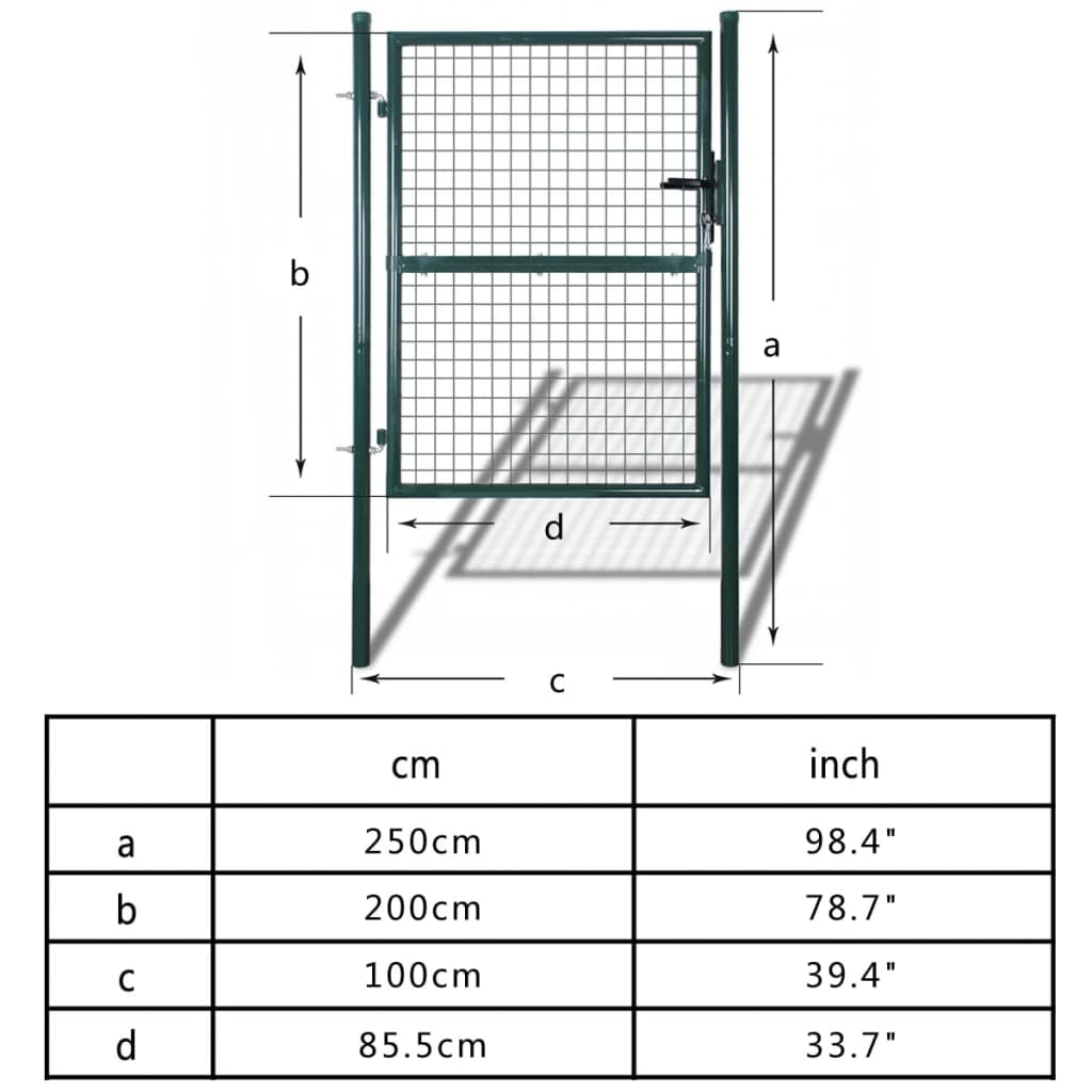 Fence Gate Steel 100×250 cm Green 7