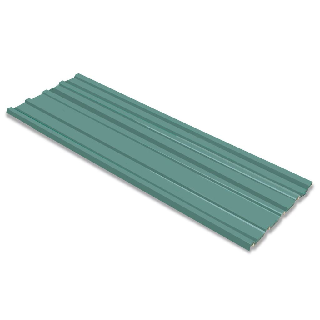 Roof Panels 12 pcs Galvanised Steel Green 1