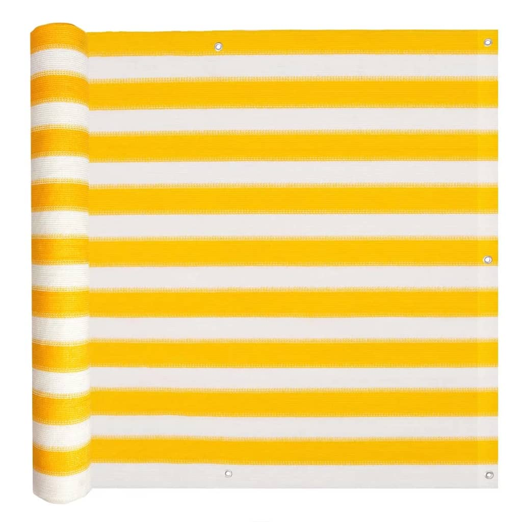 Balcony Screen HDPE 90×600 cm Yellow and White 1