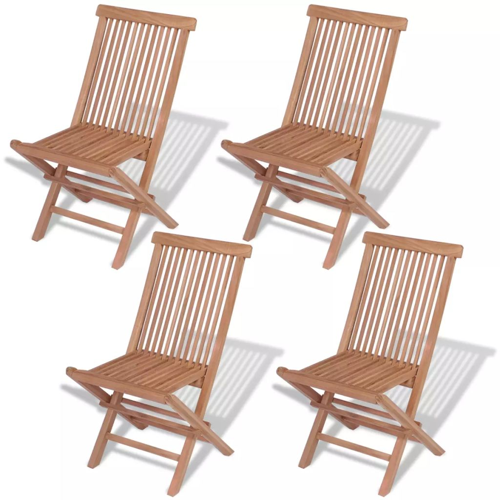 Folding Garden Chairs 4 pcs Solid Teak Wood 1