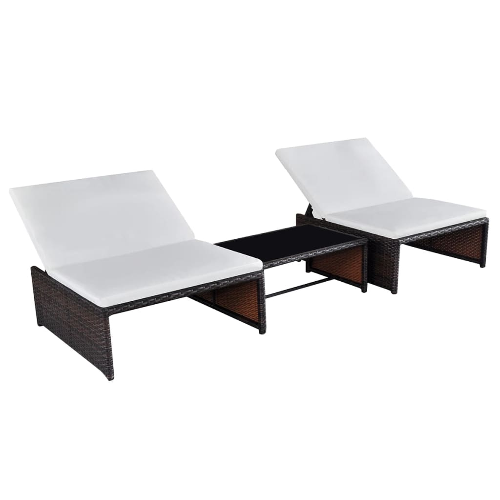 Sun Loungers 2 pcs with Table Poly Rattan Brown 1