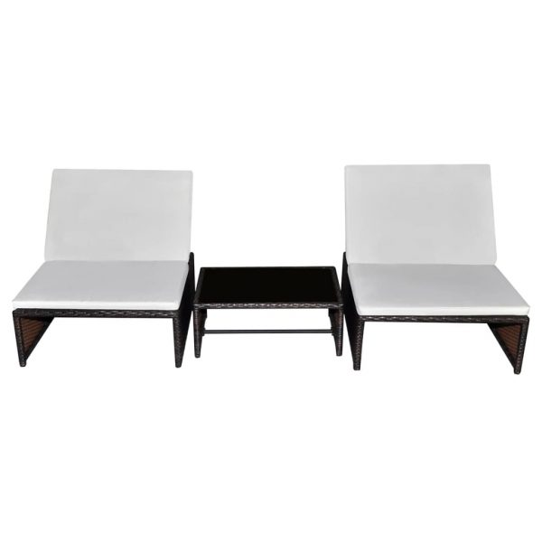 Sun Loungers 2 pcs with Table Poly Rattan Brown 2