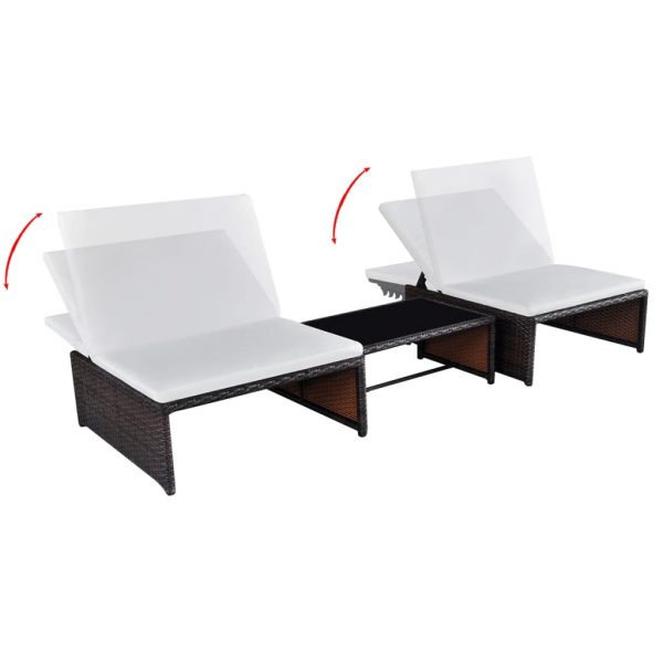 Sun Loungers 2 pcs with Table Poly Rattan Brown 3