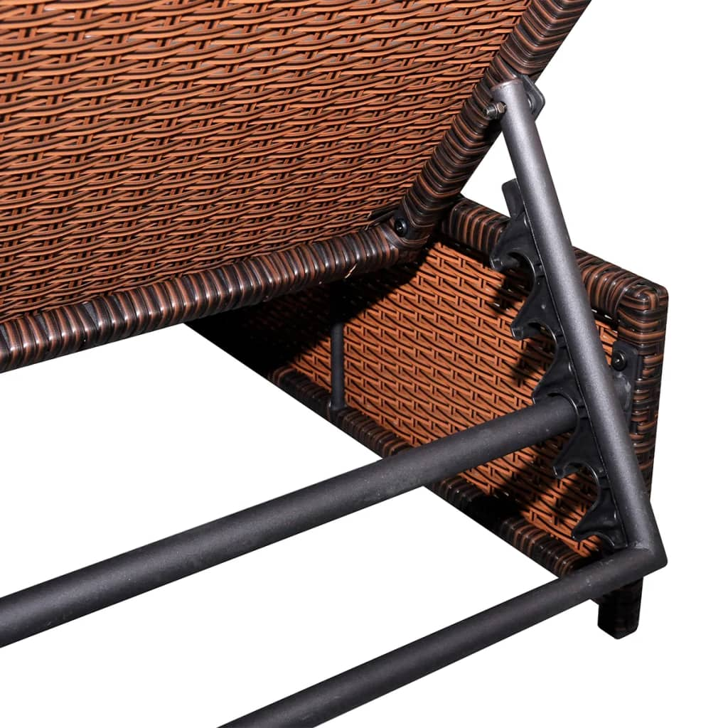 Sun Loungers 2 pcs with Table Poly Rattan Brown 5