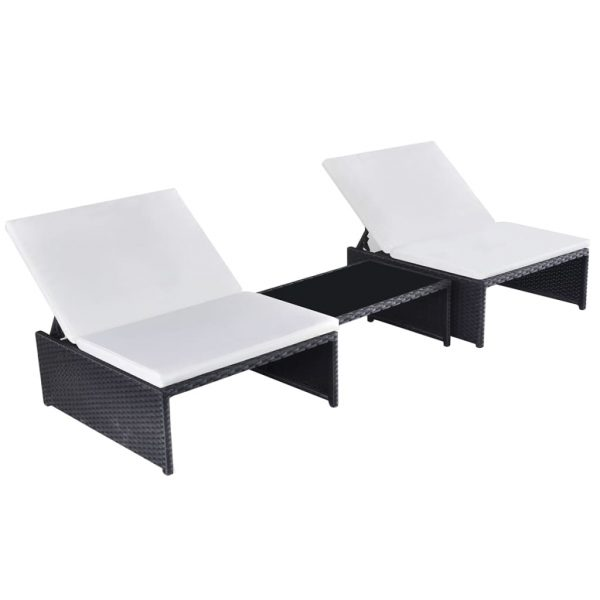 Sun Loungers 2 pcs with Table Poly Rattan Black 1