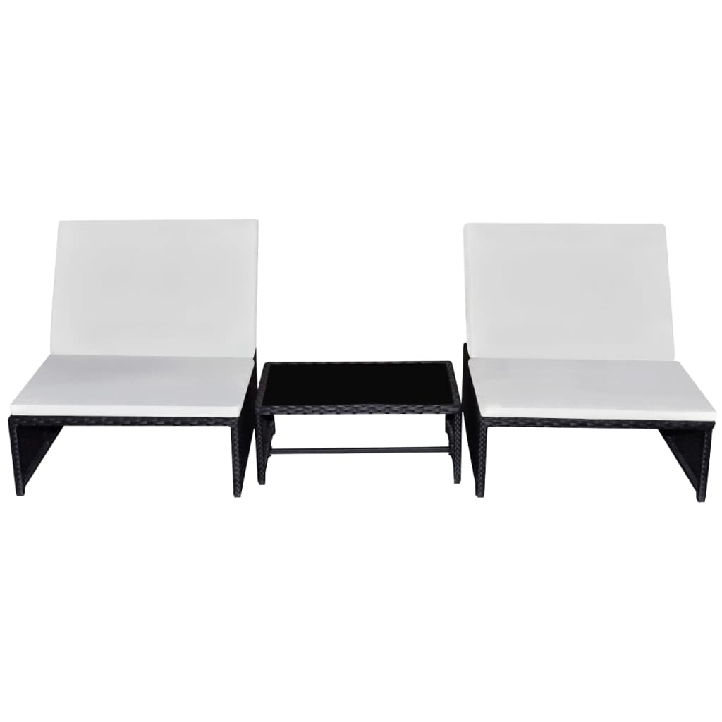Sun Loungers 2 pcs with Table Poly Rattan Black 2