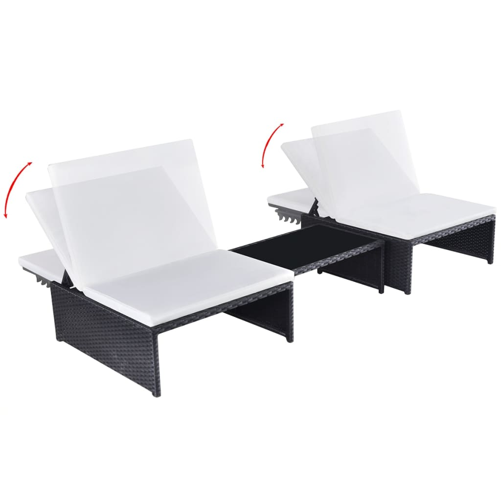 Sun Loungers 2 pcs with Table Poly Rattan Black 3