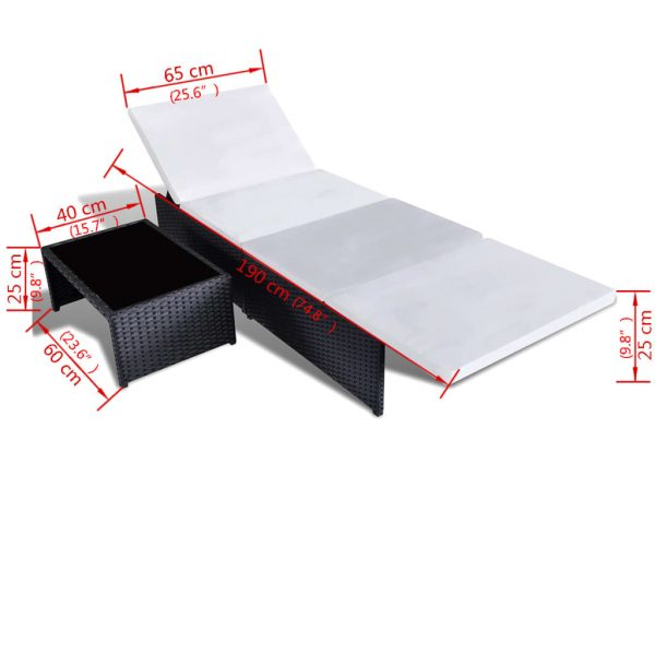 Sun Loungers 2 pcs with Table Poly Rattan Black 6
