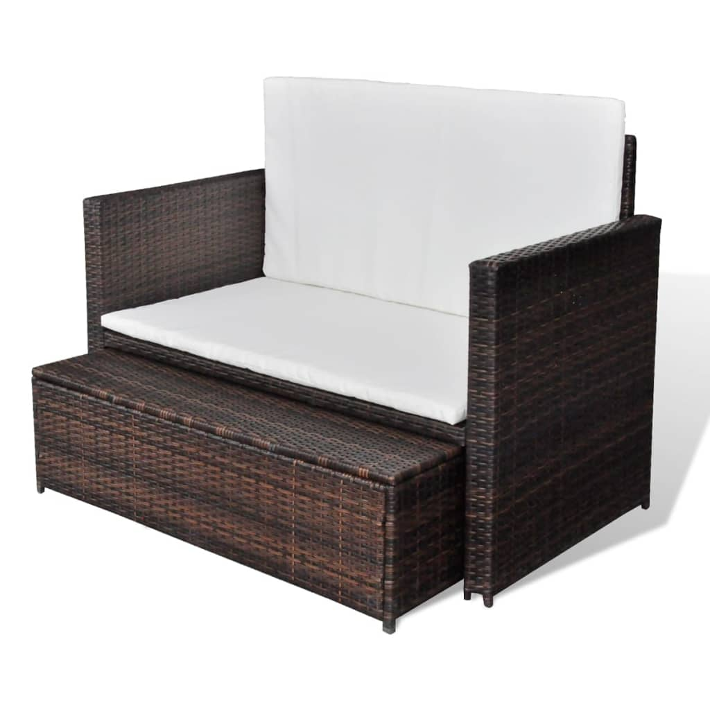 Garden Sofa Poly Rattan Brown 4