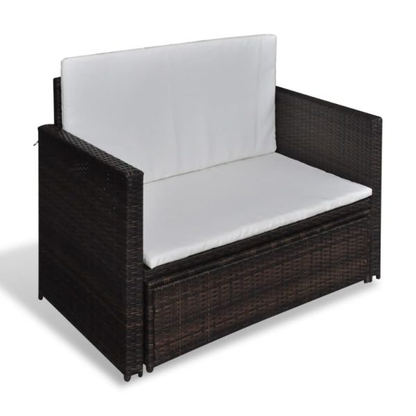 Garden Sofa Poly Rattan Brown 5