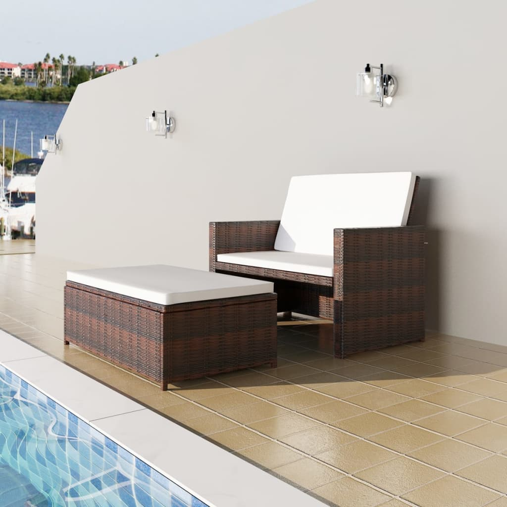 Garden Sofa Poly Rattan Brown 1