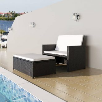 2 Piece Garden Lounge Set with Cushions Poly Rattan Black 1