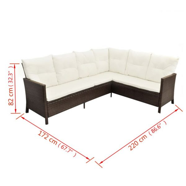 4 Piece Garden Lounge Set with Cushions Poly Rattan Brown 10