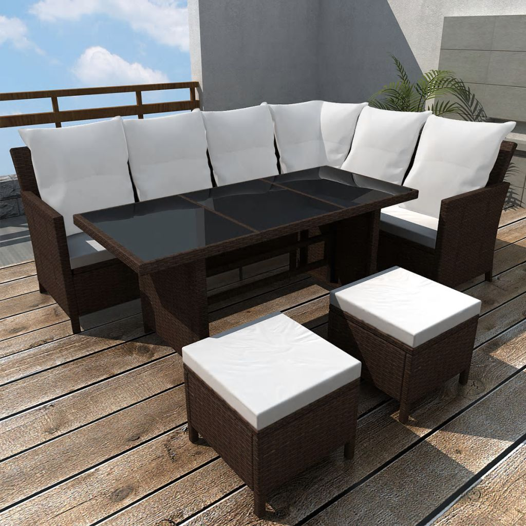 4 Piece Garden Lounge Set with Cushions Poly Rattan Brown 1