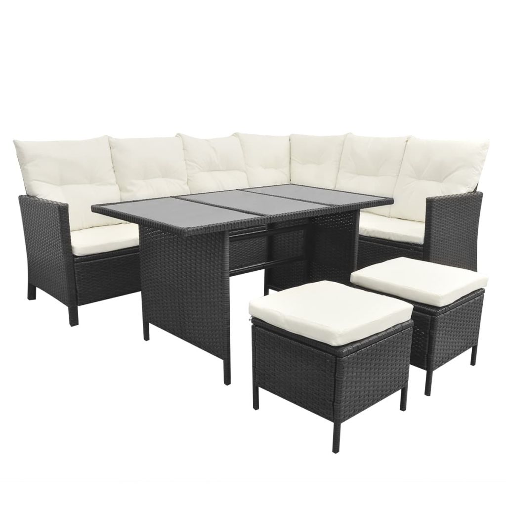 4 Piece Garden Lounge Set with Cushions Poly Rattan Black 3