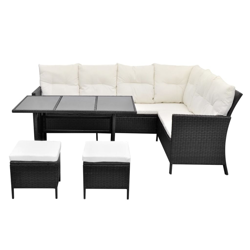 4 Piece Garden Lounge Set with Cushions Poly Rattan Black 4