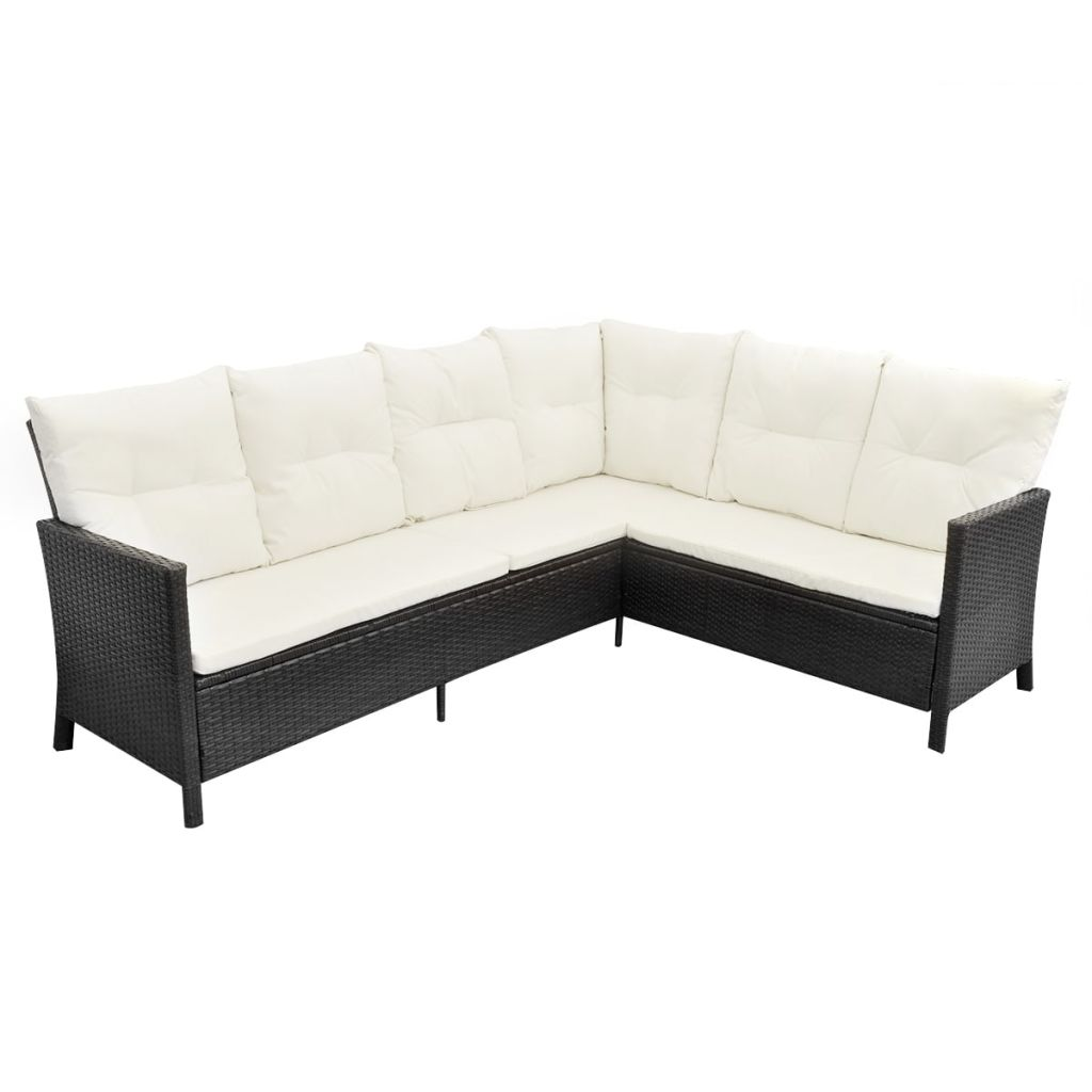 4 Piece Garden Lounge Set with Cushions Poly Rattan Black 6