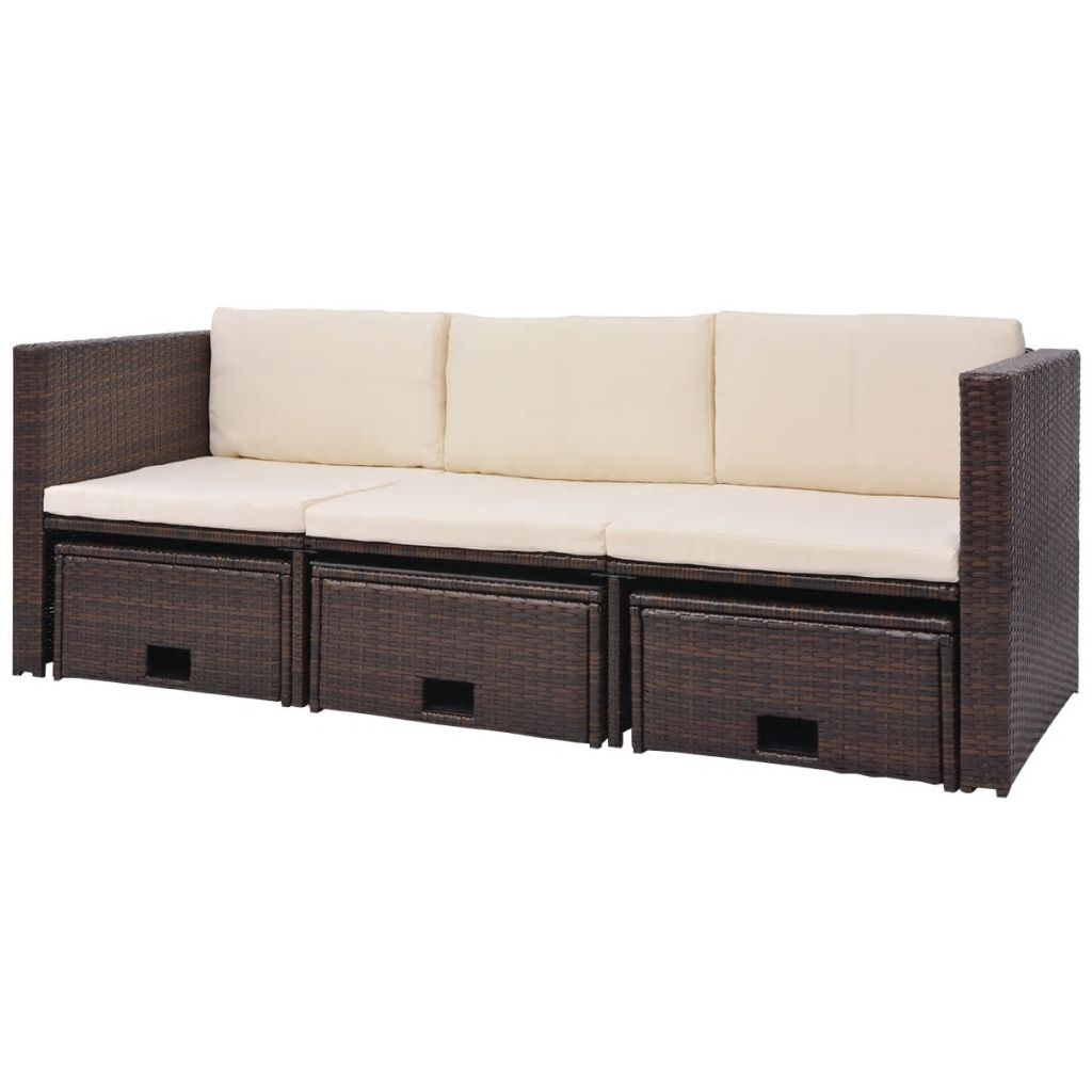 4 Piece Garden Lounge Set with Cushions Poly Rattan Brown 5