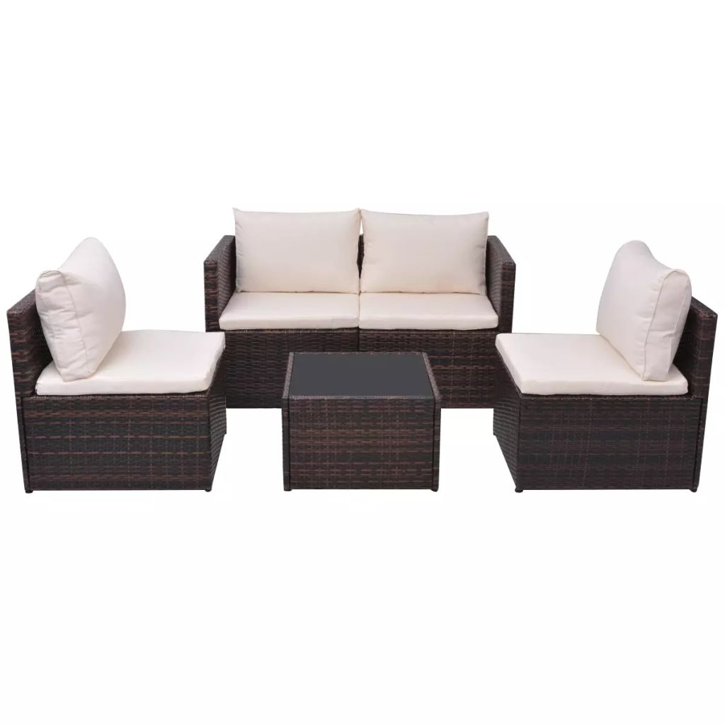5 Piece Garden Lounge Set with Cushions Poly Rattan Brown 2