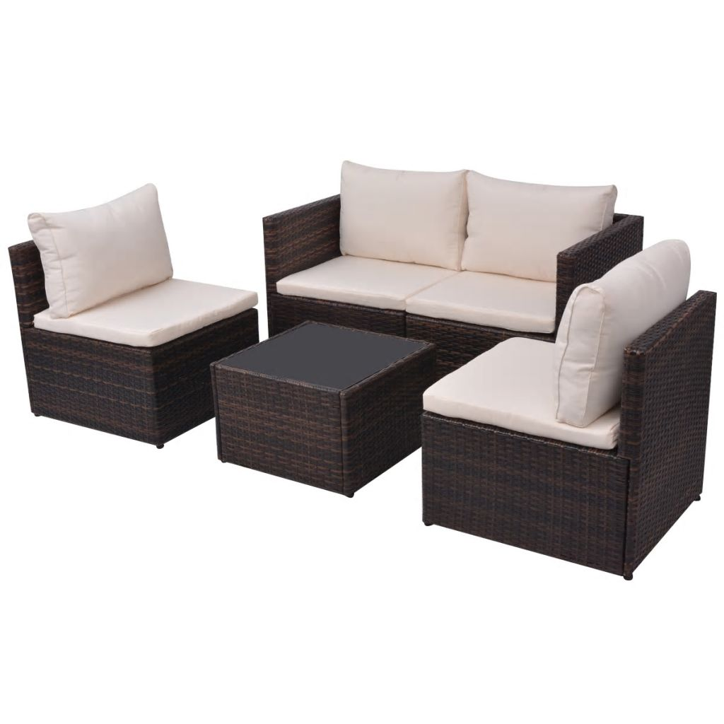 5 Piece Garden Lounge Set with Cushions Poly Rattan Brown 3