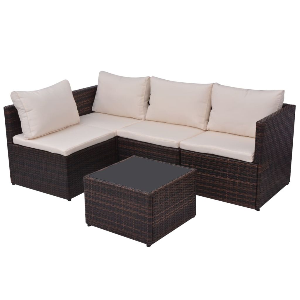 5 Piece Garden Lounge Set with Cushions Poly Rattan Brown 6